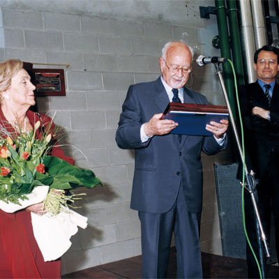 1999. Mr and Mrs Xifra at the inauguration of the new installations in Riudellots de la Selva, Girona.